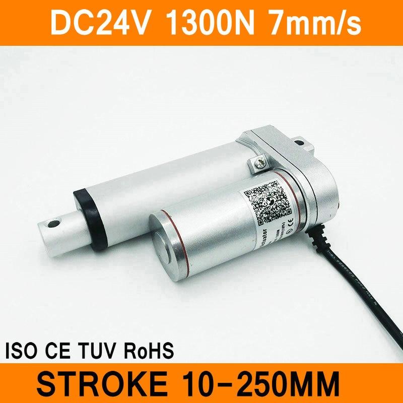 Linear Actuator 24V DC Motor 1300N 7mm s Stroke 10 250mm Linear Motion Controller IP54 Aluminum
