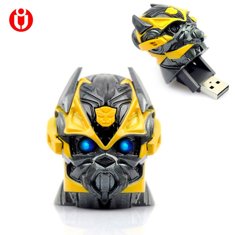 NEW LED Flash bumblebee USB Flash Drive 4GB 8GB 16GB 32GB 64gb USB Memory Stick Pen/Thumb/Car Flash Drives pendrive memory gift стоимость