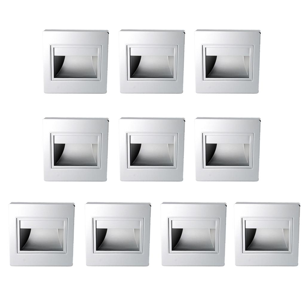 10 pièces 1.5 W mur plinthe encastré escalier lampe allée porche lumière blanc chaud lumière-argent cas