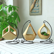 European Iron Hanging Basket Micro Landscape Geometry Fleshy Flowerpot Desktop Home Plant Ornaments Chlorophytum Flower Pots