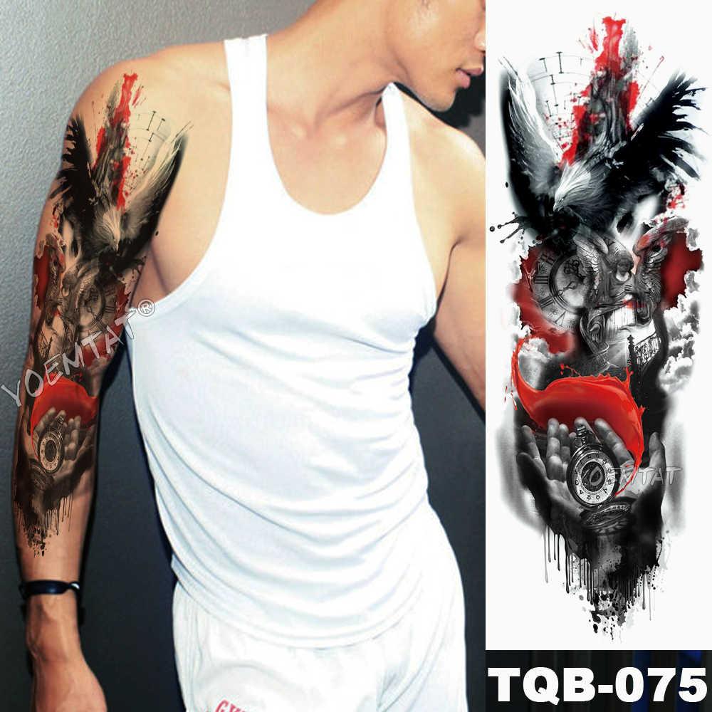 ขนาดใหญ่แขนแขน Tattoo Sketch Lion Tiger กันน้ำชั่วคราว Tattoo สติกเกอร์ป่า Fierce สัตว์ผู้ชาย Bird Totem Tattoo
