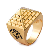 NYUK New Arrival Egyptian Pyramids Alloy Metal Men Rings Gold Color High Quality Hip Hop Fashion Jewelry Geometric Pyramid Ring