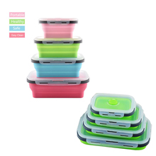 4Pcs/set Silicone Folding Bento Box Collapsible Portable Lunch Box for Food Dinnerware Food Container Bowl For Children Adult