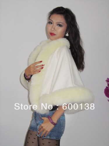 Free shipping   kid 's(age6-9)100% cashmere cape with real  fur trim   length 50cm straight fur shawl for kids kid s box 2ed 6 pb