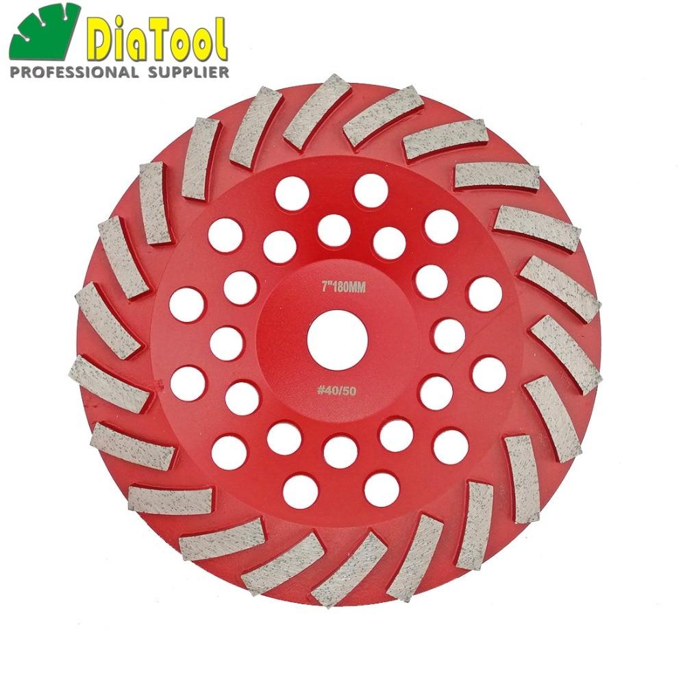 DIATOOL Diameter 180MM Segmented Turbo Diamond Grinding Cup Wheel For Concrete And Masonry Material, 7