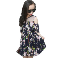 2017 Summer Flowers Printed Girls Off Shoulder Dress Children Clothing Chiffon Mesh Patchwork Big Girls Princess
