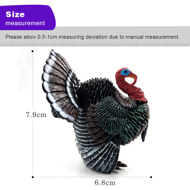 Simulation turkey bird Chicken Farm Pvc animal model figurine home decor miniature fairy garden decoration accessories modern 4