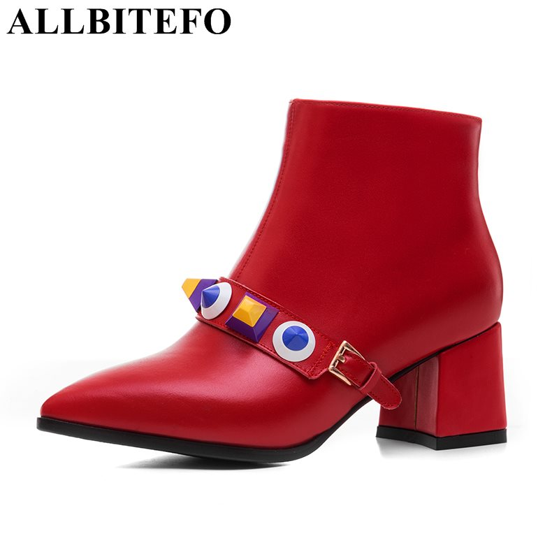 ALLBITEFO large size:33-42 genuine leather pointed toe medium heel women boots rivets thick heel martin boots girls boots цена 2017