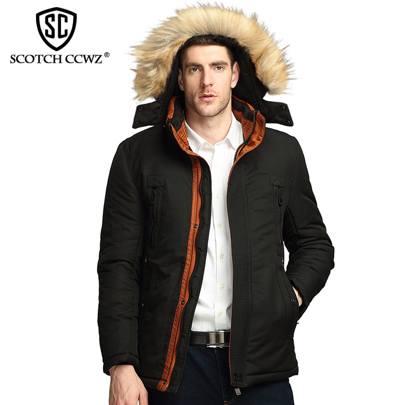 SCOTCH CCWZ Brand Casual Thick Warm Winter Jacket Men Parkas Business 2017 Jackets And Coats For Men Clothing High Quality 7788 casual 2016 winter jacket for boys warm jackets coats outerwears thick hooded down cotton jackets for children boy winter parkas