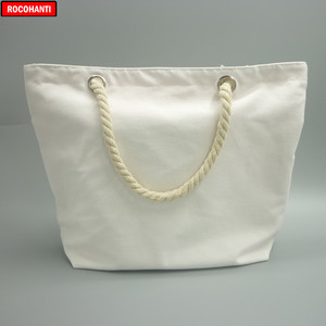 Image 2 - 10x Blank Natural Cotton Canvas Tote Bags with Zipper Rope Handle for Grocery Beach Shopping  Bag
