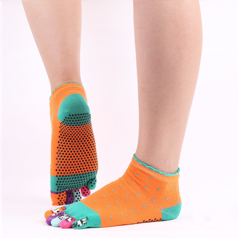 Cartoon Women Cotton Yoga Socks Indoor Five Fingers Antiskid Pilates Socks Toe Separate Man Sports Socks