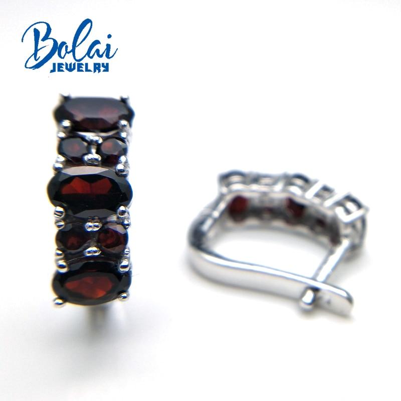 Bolaijewelry, 2018 뜨거운 신제품 자연적인 석류석 원석 걸쇠 간단한 특별한 귀걸이 925 순은 고급 보석 여자-에서귀걸이부터 쥬얼리 및 액세서리 의  그룹 3