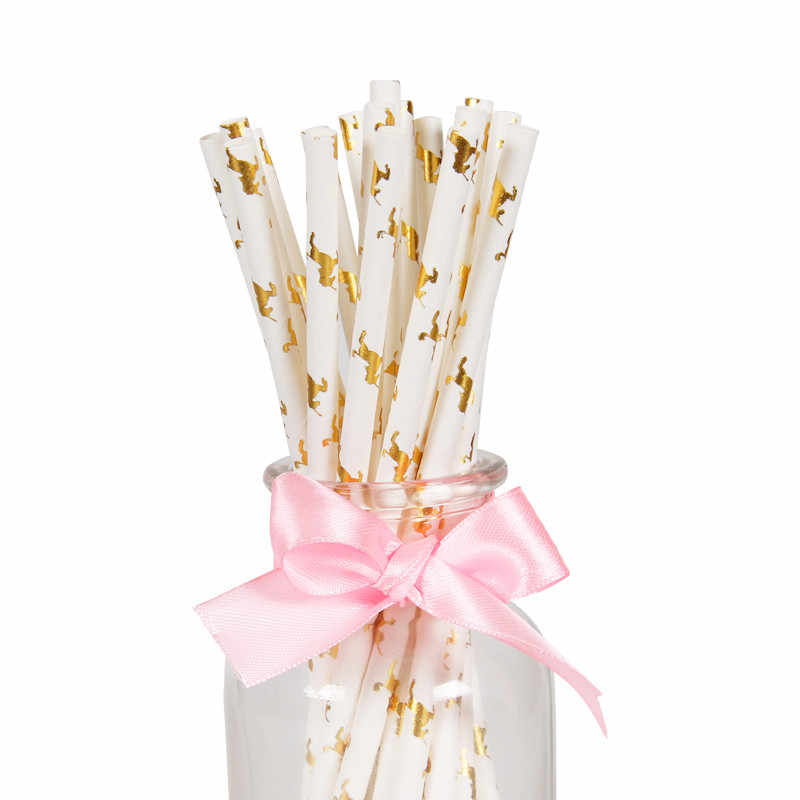 25Pcs Rose Gold Striped Paper Drinking Straws Disposable Party Tableware Unicorn Birthday Decoration Kids Wedding Supplies