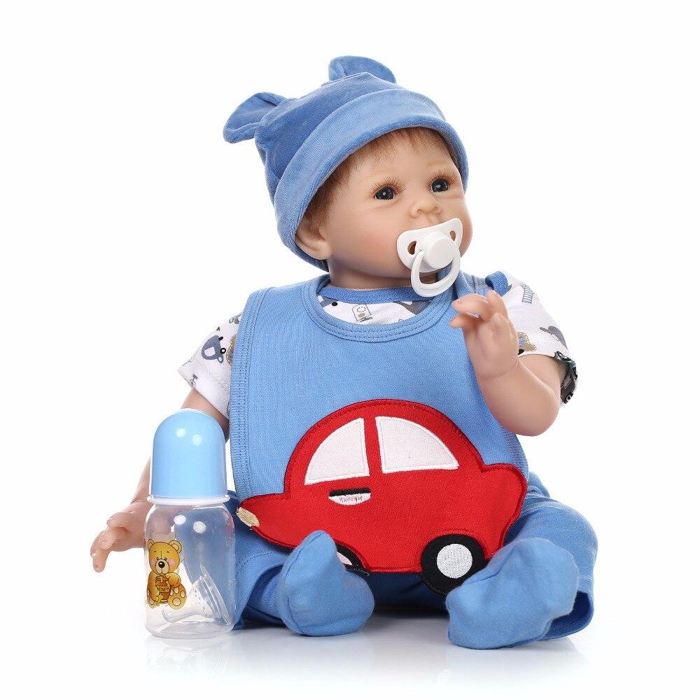 Nicery 20-22 pouces 50-55 cm Bebe Reborn poupée souple Silicone garçon fille jouet Reborn bébé poupée cadeau pour enfants bleu rouge voiture bébé poupée