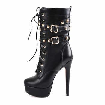 Women\'s winter Ankle Boots Shoes 15~16cm High Thin Heel 4cm Platform Fashion Heels Boots Metal Plates Buckle Boots Stilettos