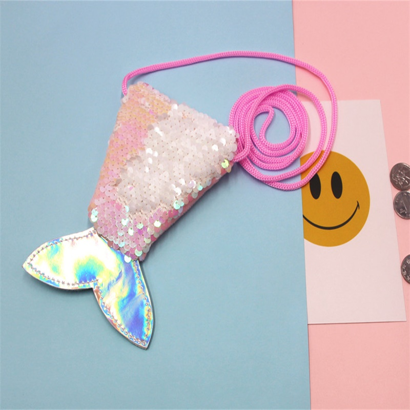 Cellphones & Telecommunications 100% Quality Topsthink Mermaid Tail Shape Phone Bag Shining Pieces Novelty Phone Case Portable Eye Catching Earphone Bag With 130 Cm Rope Products Hot Sale