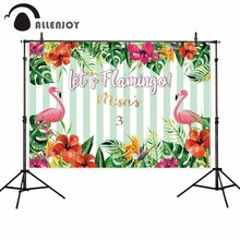Allenjoy kids background for photography Tropical plant flowers pale green stripes flamingo summer backdrop customize photocall allenjoy vinyl photo backdrops pink board flowers romantic wedding backdrop photocall professional customize excluding stand