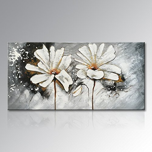 Art Hand Painted Large White Flower Oil Painting on Canvas Abstract Wall Art Modern Floral Decor Hanging Contemporary Artwork