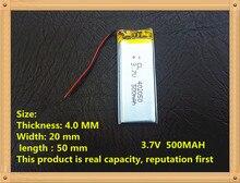 Bateria de Polímero 3.7 V de Lítio 042050 402050 Mp3 Gravador Voz Estéreo Bluetooth 500 Mah Diy