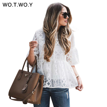 WOTWOY 2019 White Floral Lace Blouses Women Spring Casual Hollow Out Half Sleeve O-Neck Tops Female Embroidery Blusas Harajuku Blouses