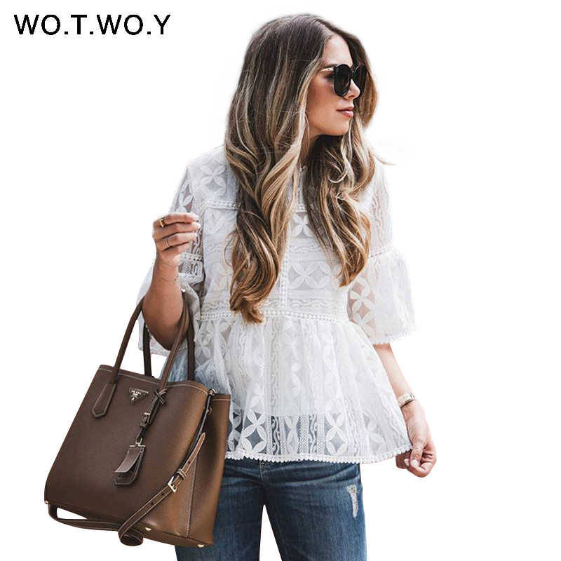 WOTWOY 2019 לבן פרחוני תחרה חולצות נשים האביב מקרית הולו מתוך חצי שרוול O-צוואר חולצות נקבה רקמת Blusas Harajuku