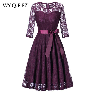 Image 1 - OML 516Z#Middle sleeve O Neck short purple lace Bow Bridesmaid Dresses wedding party dress prom gown womens fashion wholesale