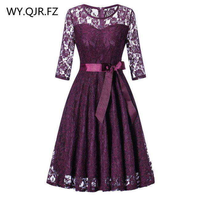 OML 516Z#Middle sleeve O Neck short purple lace Bow Bridesmaid Dresses wedding party dress prom gown womens fashion wholesale