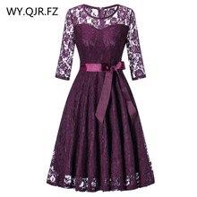 OML 516Z # orta kollu o boyun kısa mor dantel yay gelinlik modelleri düğün parti elbise balo elbisesi kadın moda toptan