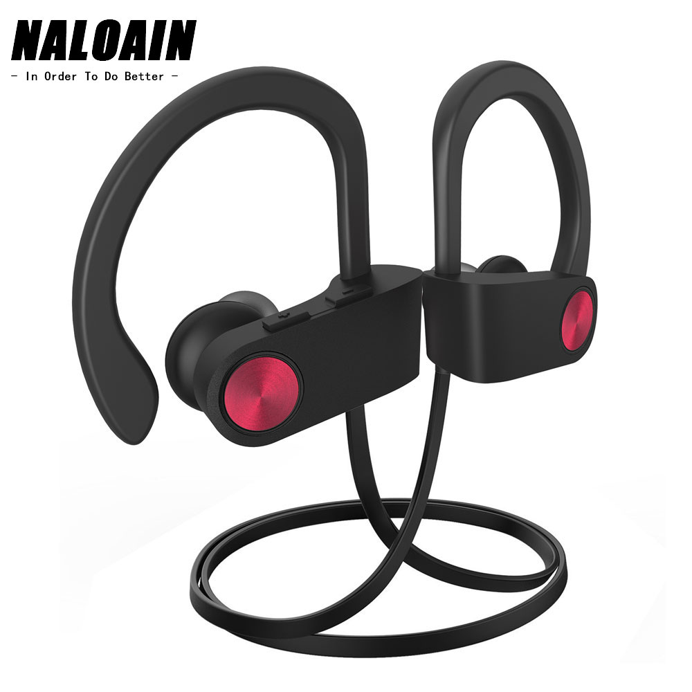 NALOAIN IPX7 Waterproof Bluetooth Headphone Sport Bass Wireless Headset Stereo Neckband Earphone With Microphone For Phone zomoea bass earphone earbuds running stereo sport bluetooth headset wireless headphones for iphone android with microphone