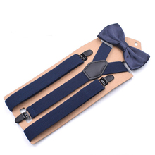 JIERKU Suspenders Set Woman's Braces With Bowknot Black Leather 3Clips Suspensorio Fashion Trousers Strap 2.5*105cm