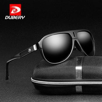 992cf7af2e DUBERY diseño de marca de gafas de sol polarizadas conducción de los hombres  gafas de sol hombres Retro Vintage espejo gafas hombre UV400 cremallera caja