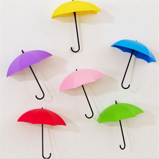 Colorful Wall Hooks creative 3pcs/set umbrella wall hook key hair pin holder organizer