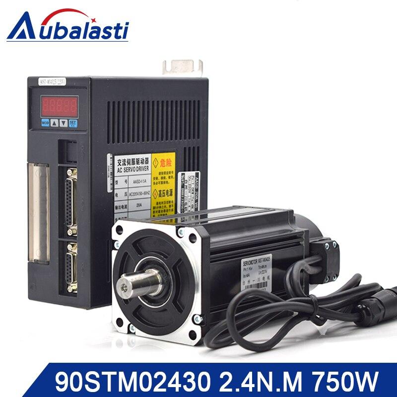 Aubalasti 750W AC Servo Motor 2 4 N M 3000RPM 90ST M02430 AC Motor Matched Servo