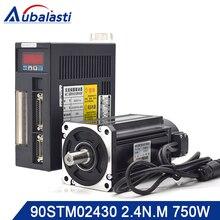 Aubalasti 750W AC 서보 모터 2.4 N.M. 3000RPM 90ST M02430 AC 모터 일치 서보 모터 드라이버 AASD15A 완전 모터 키트