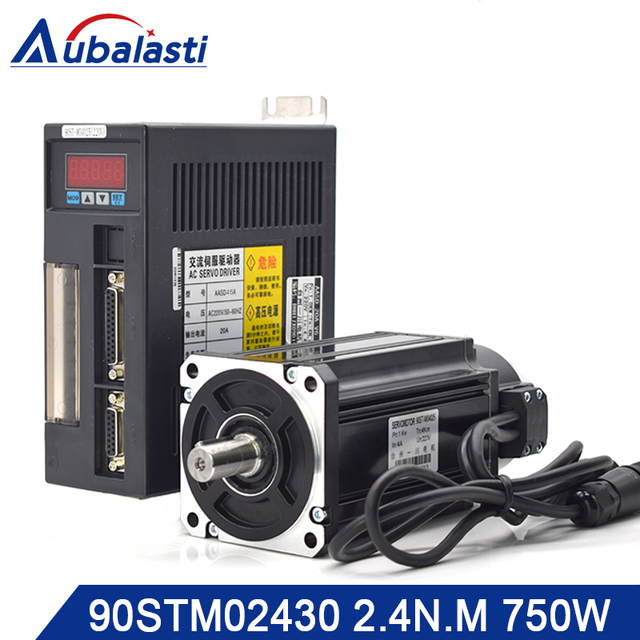 Aubalasti 750W AC Servo Motor 2.4 N.M. 3000RPM 90ST M02430 AC Motor Matched Servo Motor Driver AASD15A Complete Motor kits