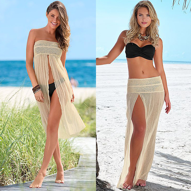 New Fashion Women Summer Lace Up Solid Bikini Swimwear Cover Up Beach WST