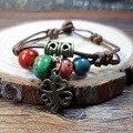SUPIN Fashion Folk Style Ethnic Alloy Flower Ceramic Bead Alloy Hand Chain Beaded Bracelet Bracelets & Bangles Gift For Women