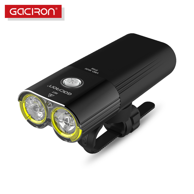 Gaciron Bike Front Light Waterproof 1600 Lumens Rechargeable 5000mAh Power Bank Bicycle Accessories With Free W05