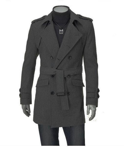 Mode manteau épaule planche Long pardessus Outwear manteau en laine décontracté hommes vêtements H8