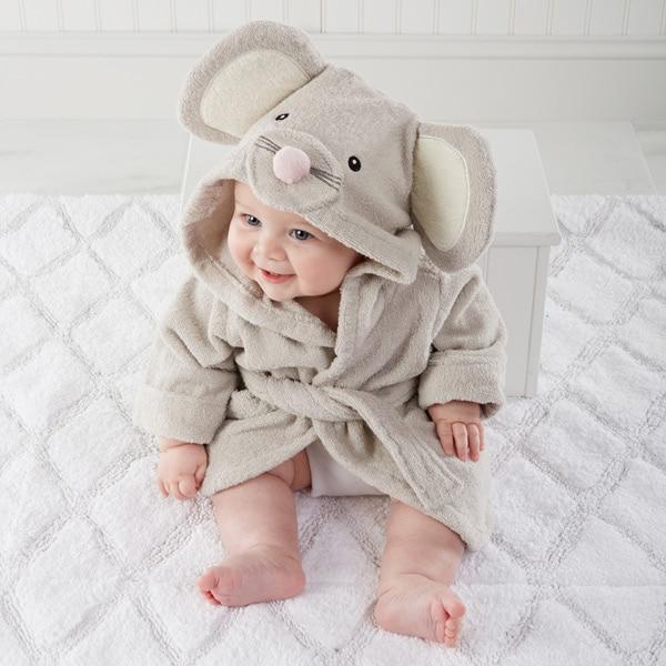 Милый детский банный халат с мышкой пандой, чистый хлопок, купальный Халат с капюшоном, Пляжное банное полотенце, спа-халат с мышкой крысы, пончо для младенцев - Цвет: gray mouse