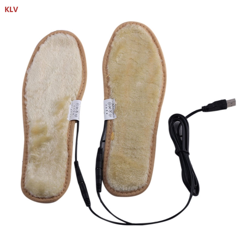 KLV Electric USB Plug Powered Heated Shoes Insoles Plush Film Heater Winter Keep Feet Warm Socks Pads Foot For Women Men