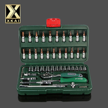 XKAI TOOLS HIGH QUALITY 46pc Spanner Socket Set Car Repair Tool Ratchet Wrench Set Torque Wrench Combination Bit a set of keys