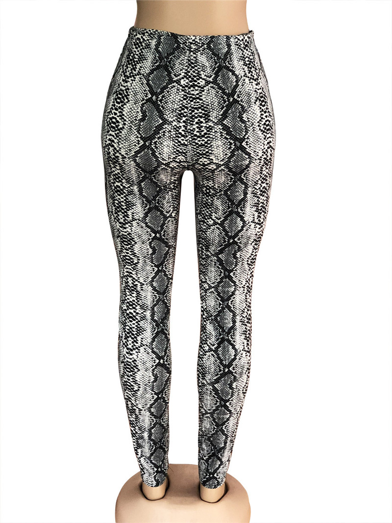 Adogirl Snakeskin Print Women Pencil Pants Elastic High Waist Cotton Skinny Trousers Fashion Sexy Leggings Female Clubwear Pants & Capris Women Bottom ! Plus Size Women's Clothing & Accessories