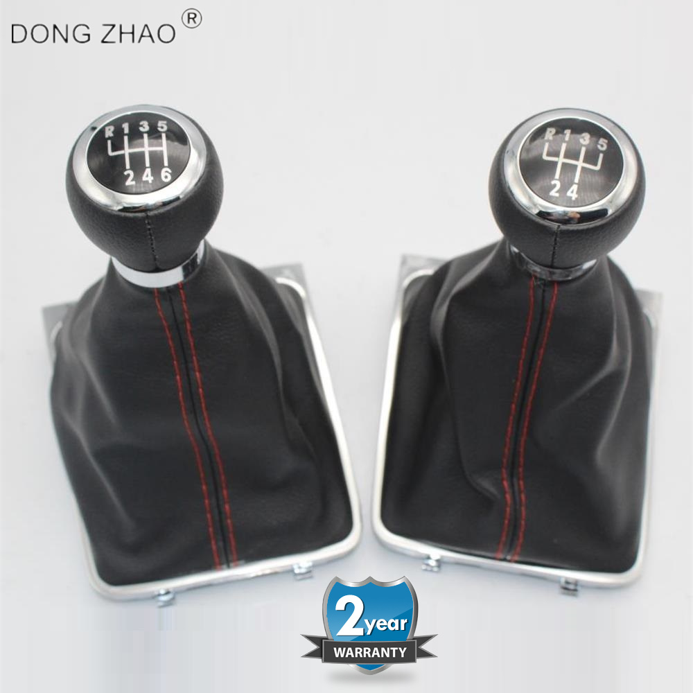 Manual 6 Speed Gear Shift Knob Gaiter Boot Cover Kit Black Leather ...