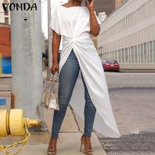 VONDA 2019 Summer Split Hem Vestidos Asymmetrical Shirt Dress Maxi Long Dress Women's Short Sleeve White Dress Tunic Dress Robe