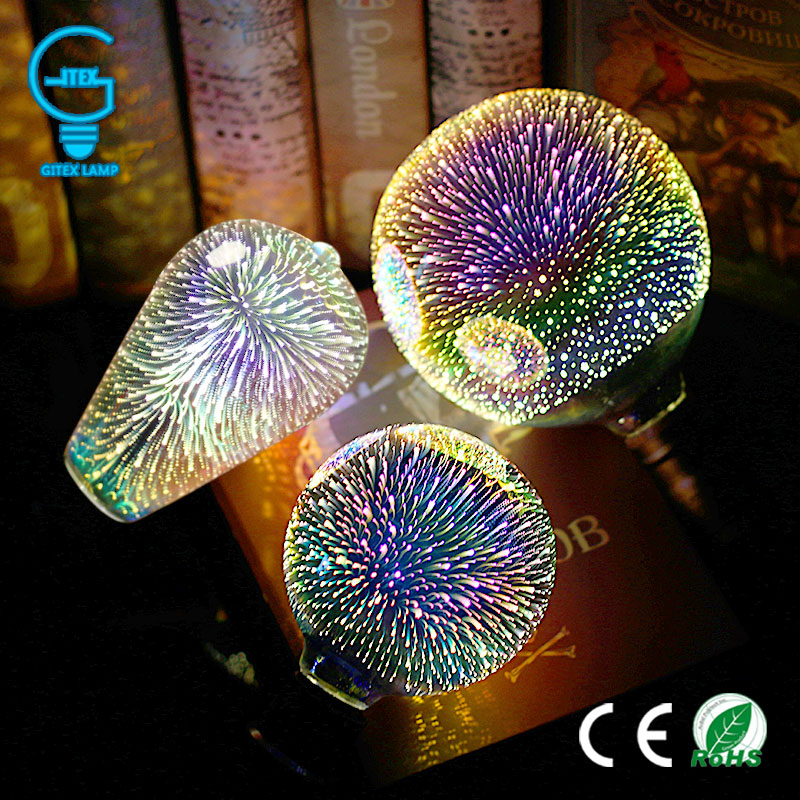 3D Colourful Star LED Edison Bulb E27 220V Lamp Decoration Novelty Light A60 ST64 G80 G95 G125 Holiday Wedding Party Ampoule 3d fireworks led bulb light 220v e27 a60 st64 g80 g95 g125 novelty decoration lamp christmas lighting