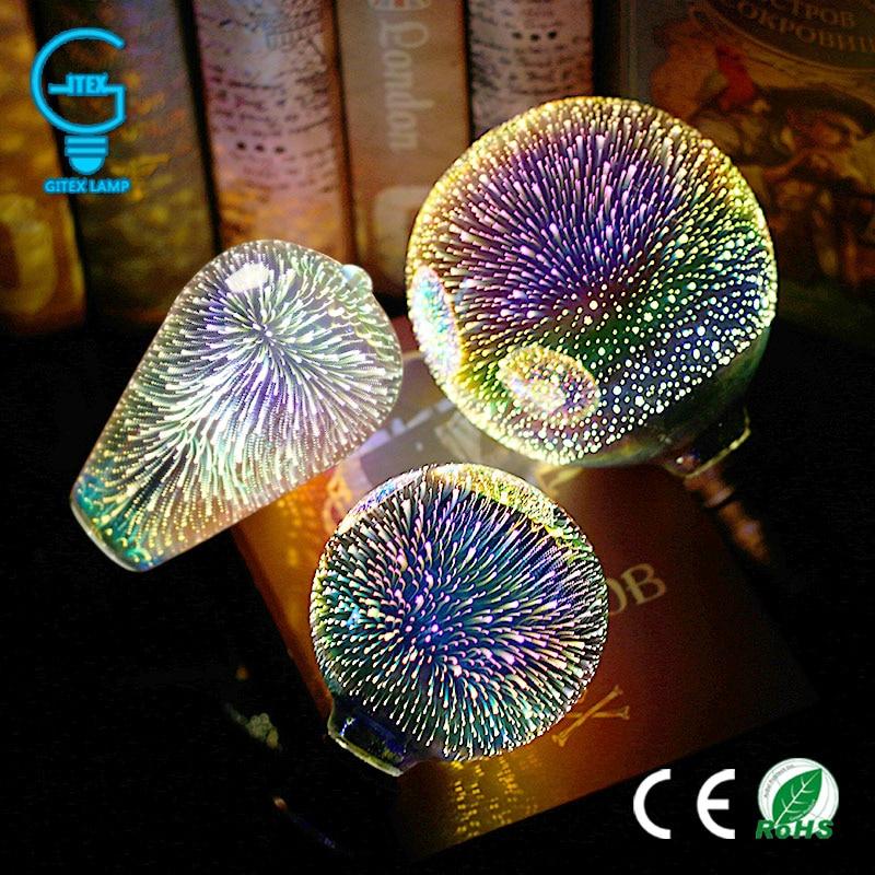 3D Colourful Star LED Edison Bulb E27 220V Lamp Decoration Novelty Light A60 ST64 G80 G95 G125 Holiday Wedding Party Ampoule