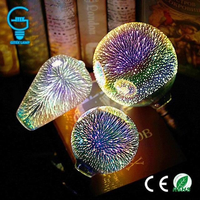 3D Colourful Star LED Edison Bulb E27 220V Lamp Decoration Novelty