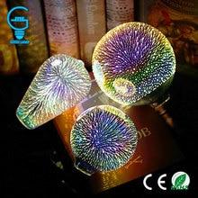 3D Đầy Màu Sắc Sao LED Bóng Đèn Edison E27 220 V Đèn Trang Trí Mới Lạ Ánh Sáng A60 ST64 G80 G95 G125 Đám Cưới Kỳ Nghỉ đảng Ống