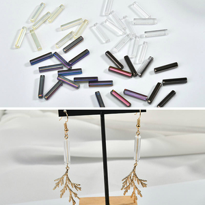 Long Straight-hole Glass DIY Earrings Bracelet Necklaces Accessories